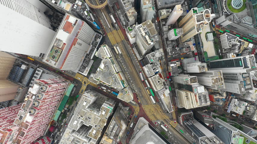 Day time city downtown traffic streets aerial topdown panorama 4k hong kong | Shutterstock HD Video #1021234903