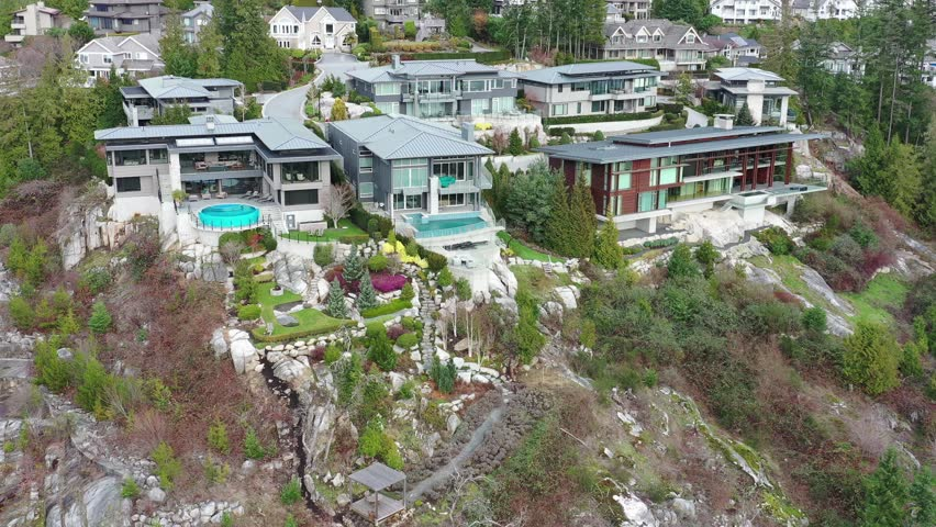 A perfect neighbourhood. Houses in suburb at Summer in the north America. Luxury houses with nice landscape. Aerial drone view. | Shutterstock HD Video #1021424563