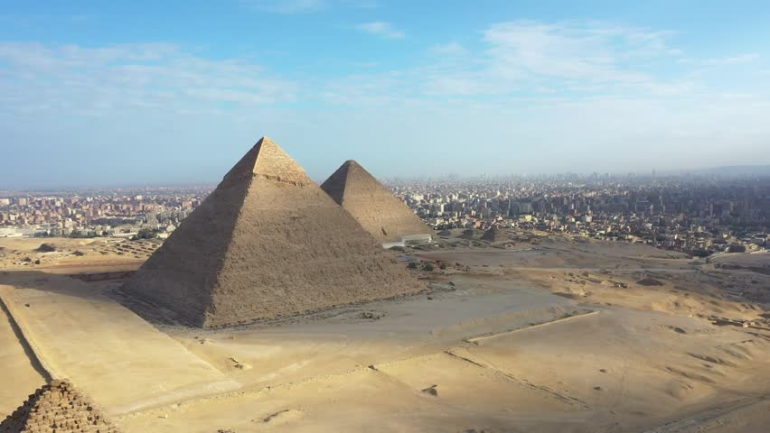 aerial view of giza pyramids landscape. historical egypt pyramids shot by drone.