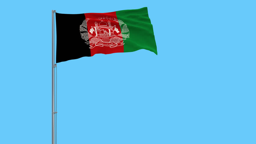 Isolate flag of Islamic Republic Afghanistan on a flagpole fluttering in the wind | Shutterstock HD Video #1021474753