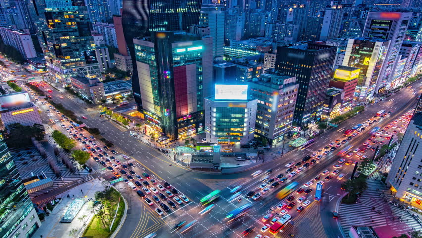 Time lapse : traffic at Gangnam square in seoul south korea | Shutterstock HD Video #1021488973