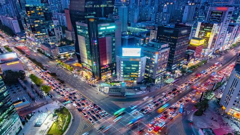 time lapse : traffic at Gangnam square in seoul south korea