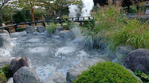 Oniishibozu Jigoku, natural hot spring, sea hell, blue water and hot
