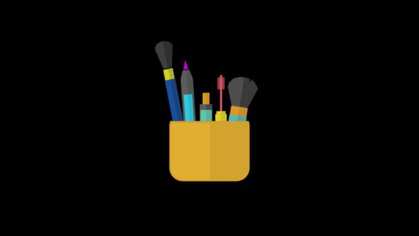 Makeup Kit  icon animation with black background. Icon design. Video Animation. 4K.