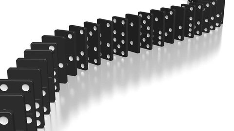 3D rendering - domino effect animation - falling black tiles with white dots.