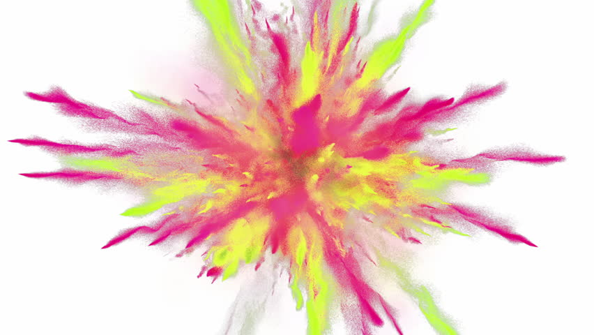 CG 3d animation of powder explosion with yellow and red colors on white background. Slow motion movement with acceleration in the beginning. #1021574743