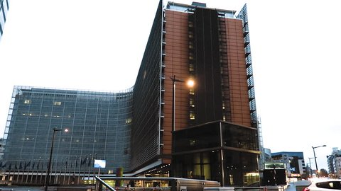 Brussels, Belgium European Parliament (Le Berlaymont) evening side view. European Commission headquarters building, the seat of the President of the European Commission.