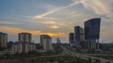 High Angle Time lapse Putrajaya city view during duskn overlooking the city at sunset. Malaysia. Full HD. 4K available.
