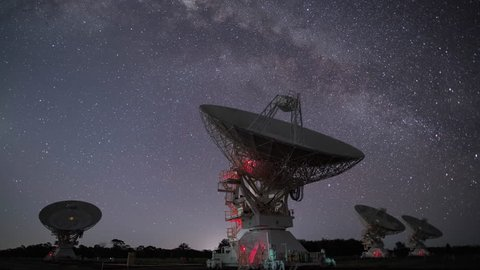 Radio Telescopes Moving in Sync While the Milky Way Creating Beautiful Trails in the Sky