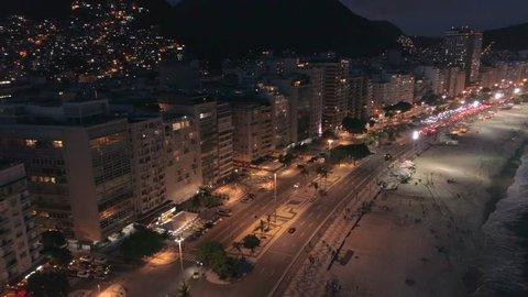 High night aerial Copacabana beach, Rio de Janeiro, Brazil
