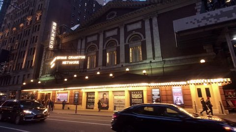 """New York, NY/USA- December 12, 2018: Belasco Theatre Near Broadway- Marquee for """"Network,"""" Starring Bryan Cranston. Cranston's best-known role was Walter White in the TV Series """"Breaking Bad."""""""