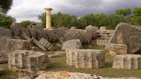 Single column from the Temple of Zeus in Olympia, Greece, slow motion