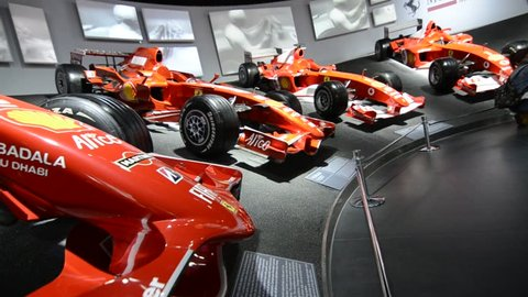 Maranello, Italy, December 2018. In the Ferrari museum, the exhibition hall where the cars of the Formula 1 world title winners are on display.