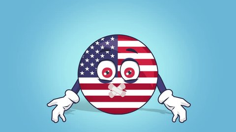 Cartoon USA Icon Flag United States America Silent Sticky Tape Mouth with Face Animation