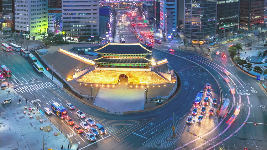Traffic at old fortress Namdaemun gate in Seoul South Korea. | Shutterstock HD Video #1021858933