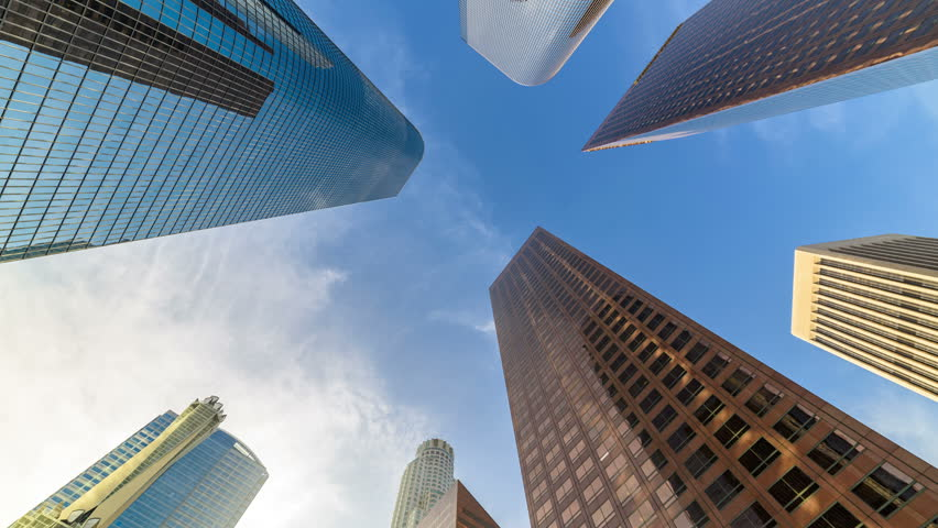 Downtown Los Angeles skyscrapers skyline at sunny day. 4K Timelapse | Shutterstock HD Video #1021864273