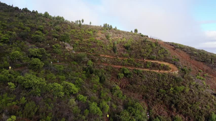 Aerial shot of a group of trail runners on a winding trail on a mountain during a race    Shutterstock HD Video #1021986193