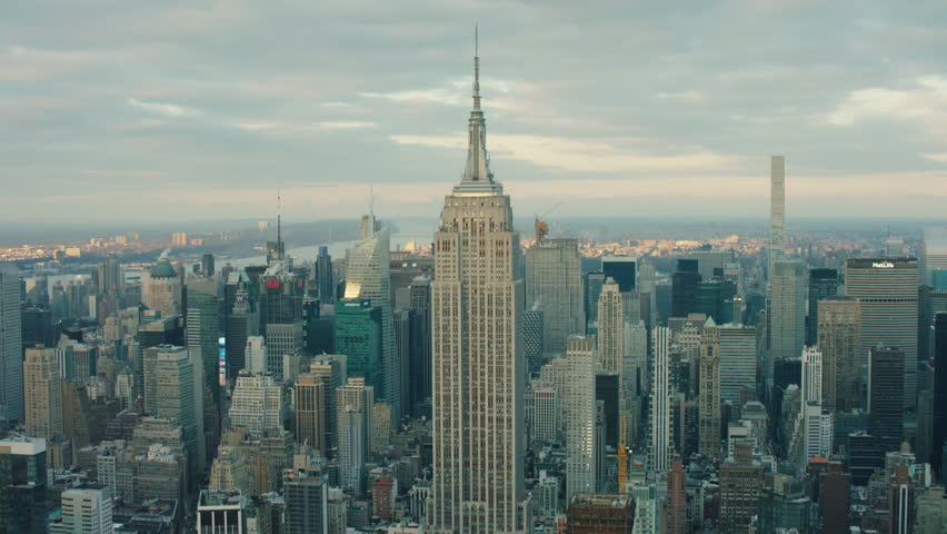 New York City, United States of America CIRCA-2018, Aerial view of the Empire State building at sunset. Wide shot. 4k shot with a RED camera.  | Shutterstock HD Video #1021992133