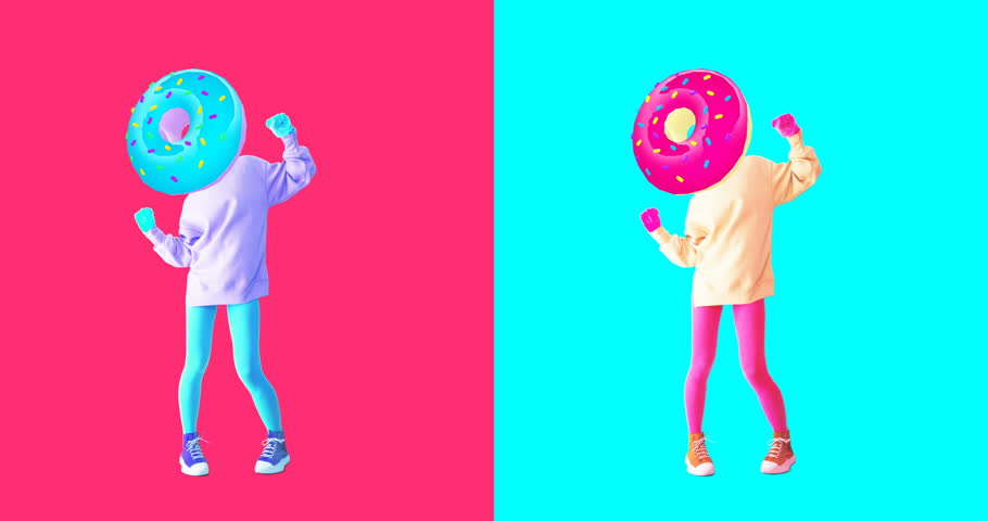 Minimal motion design. Gif set. Colorful dancing donut Girl | Shutterstock HD Video #1021997503