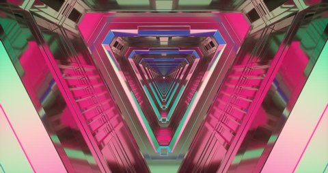An animation of conceptual/abstract geometric colorful movement making different shapes.