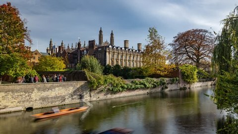 Time lapse view of boats punting on the river Cam in Cambridge