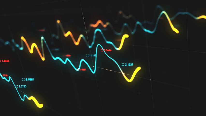 Animation growth of abstract charts with changing values of check points on dark background. Animation of seamless loop.   Shutterstock HD Video #1022110303
