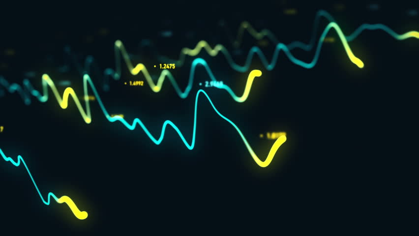 Animation growth of abstract charts with changing values of check points on dark background. Animation of seamless loop.   Shutterstock HD Video #1022110513