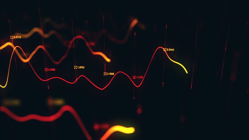 Animation growth of abstract charts with changing values of check points on dark background. Animation of seamless loop.   Shutterstock HD Video #1022110993