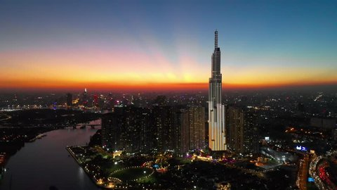 Ho Chi Minh City - January 4 2019: Sunset view on Landmark 81, Vinhomes, the tallest skyscraper in Vietnam