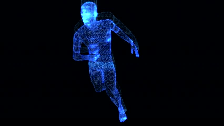 4K Holographic Futuristic Wireframe Android AI Man Running Seamless Loop   Shutterstock HD Video #1022143573