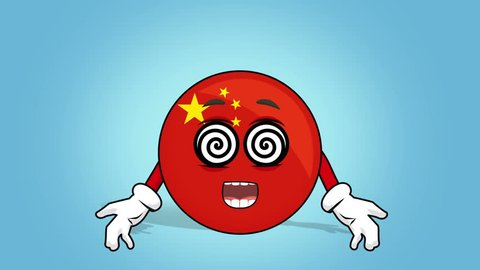 Cartoon Icon Flag China Hypnosis with Face Animation