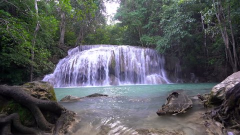 Beautiful waterfall erawan  Waterfall waterfall in kanchanaburi province Thailand