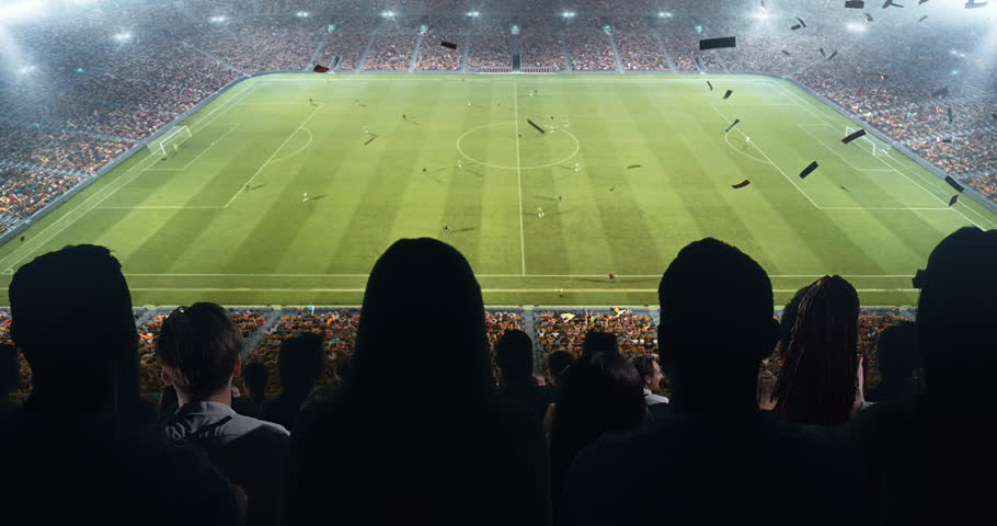 Fans celebrating the success of their favorite sports team and waving hands on the stands of the professional stadium. Stadium is made in 3D and animated. #1022278183