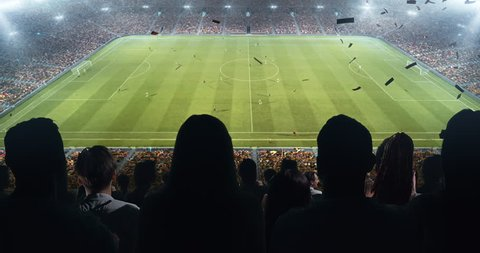 Fans celebrating the success of their favorite sports team and waving hands on the stands of the professional stadium. Stadium is made in 3D and animated.