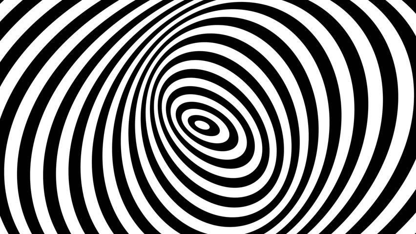 Animation Footage of twisted circle black and white optical illusion Moving Around in Spiral
