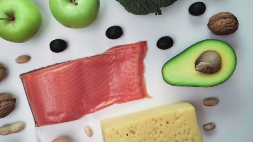 Ketogenic dietic food background | Shutterstock HD Video #1022364733