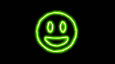 The appearance of the green neon symbol grin. Flicker, In - Out. Alpha channel Premultiplied - Matted with color black