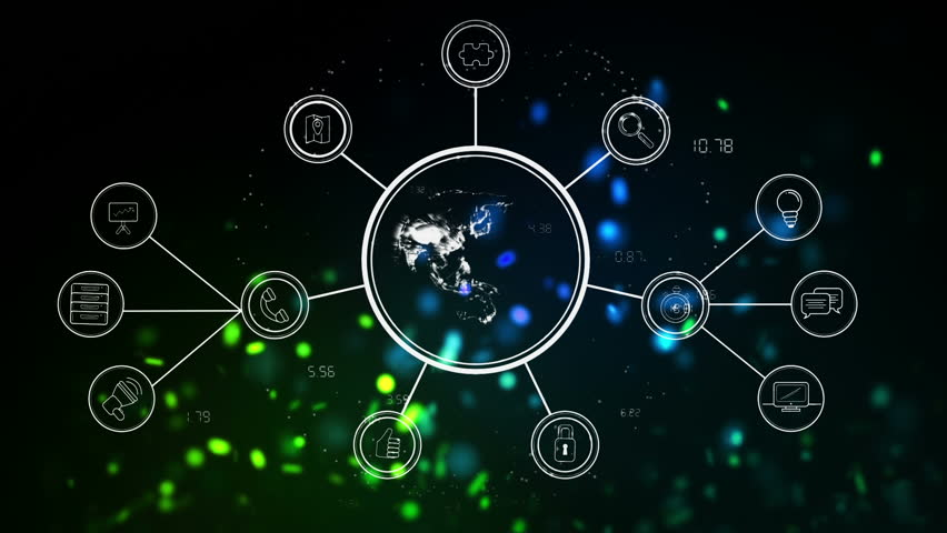 Digitally animated world map with network icons against black background with coloured sparkles  | Shutterstock HD Video #1022381983