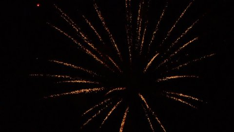 Closeup of multiple fireworks in a showy display