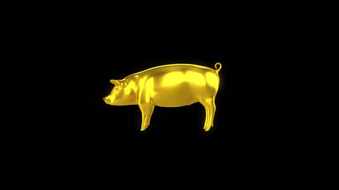 Gold Pig Animation Turn Around Seamless Loop with Alpha.