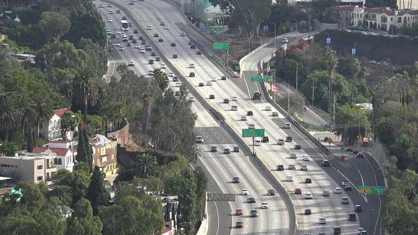 Aerial view of the Hollywood Freeway in downtown Los Angeles   Shutterstock HD Video #1022577883