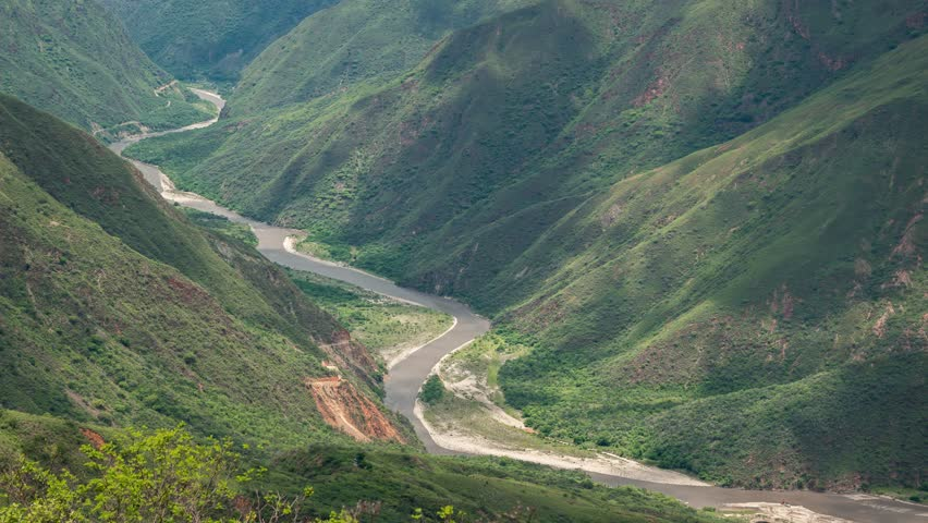 Timelapse view of the famous Chicamocha Canyon, near San Gil, Santander, Colombia, from above.
