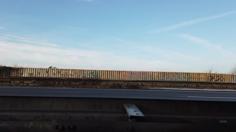 MOERS / GERMANY - JANUARY 18 2019 : Traffic is passing the motorway between cologne and Moers.