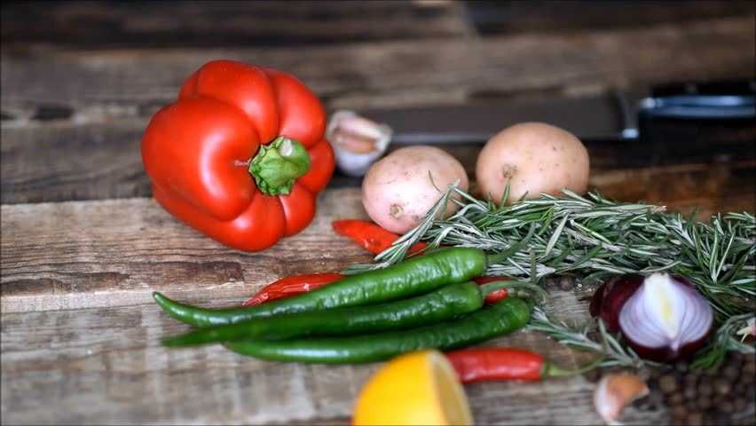 Fresh vegetables on the table | Shutterstock HD Video #1022702533