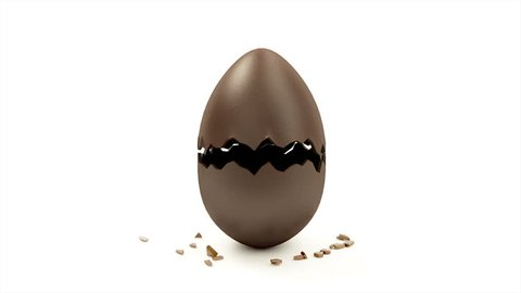 4K Animation of Empty Chocolate Egg Open. Happy Easter Concept.