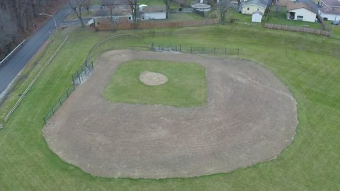 Aerial view of empty baseball diamond