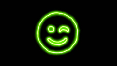 The appearance of the green neon symbol smile wink. Flicker, In - Out. Alpha channel Premultiplied - Matted with color black