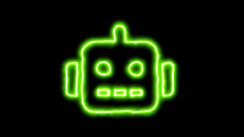 The appearance of the green neon symbol robot. Flicker, In - Out. Alpha channel Premultiplied - Matted with color black