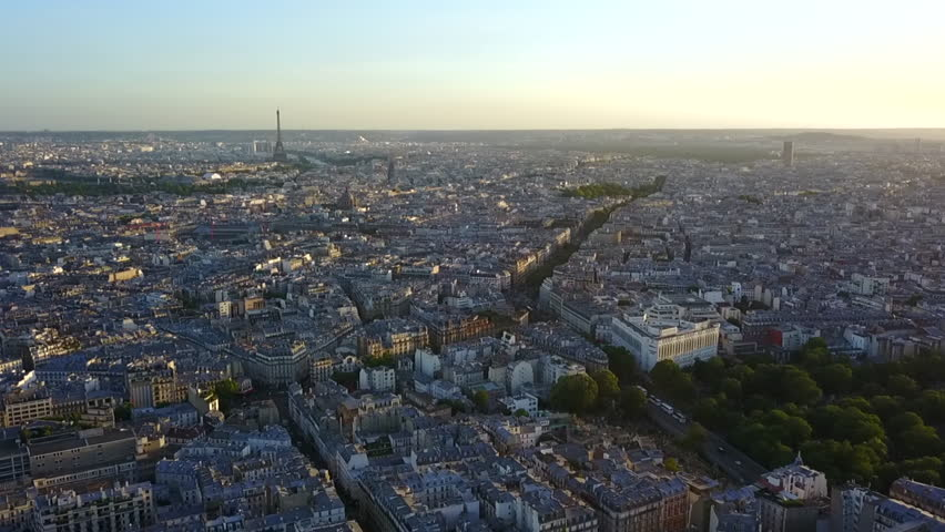 AERIAL: Over Paris looking towards Eiffel Tower at Sunset | Shutterstock HD Video #1022811433