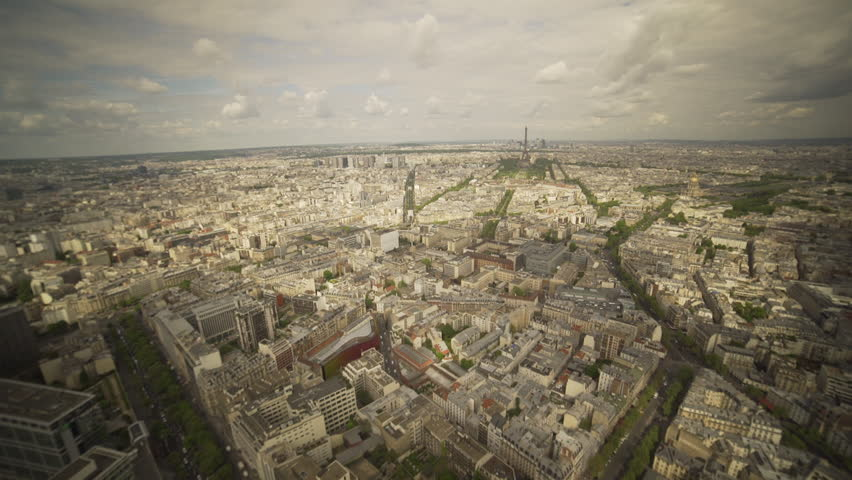 Very large panoramic shot of the city of Paris with the Eiffel tower and the other districts in France. | Shutterstock HD Video #1022819683